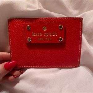 KATE SPADE ♠️ RED leather card holder, EUC